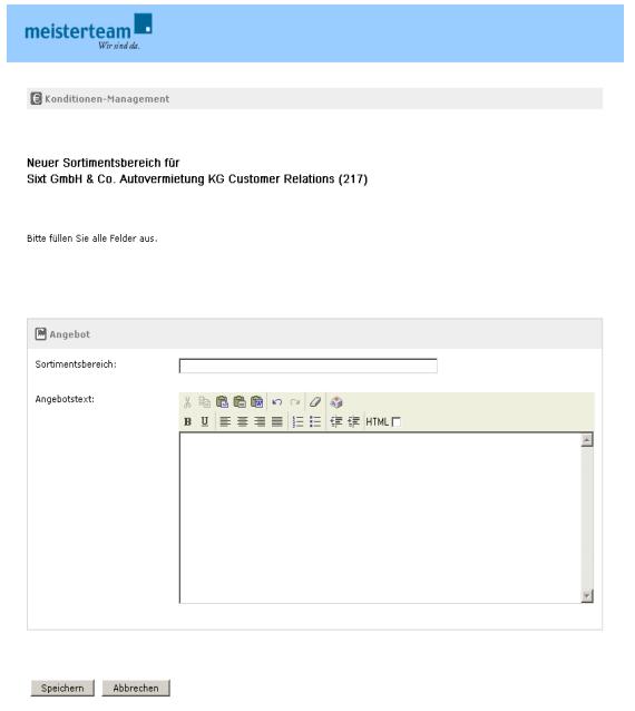 Rich Text Editor (hier: Hinzufügen eines neuen Angebotes fürt einen Vertragslieferanten)